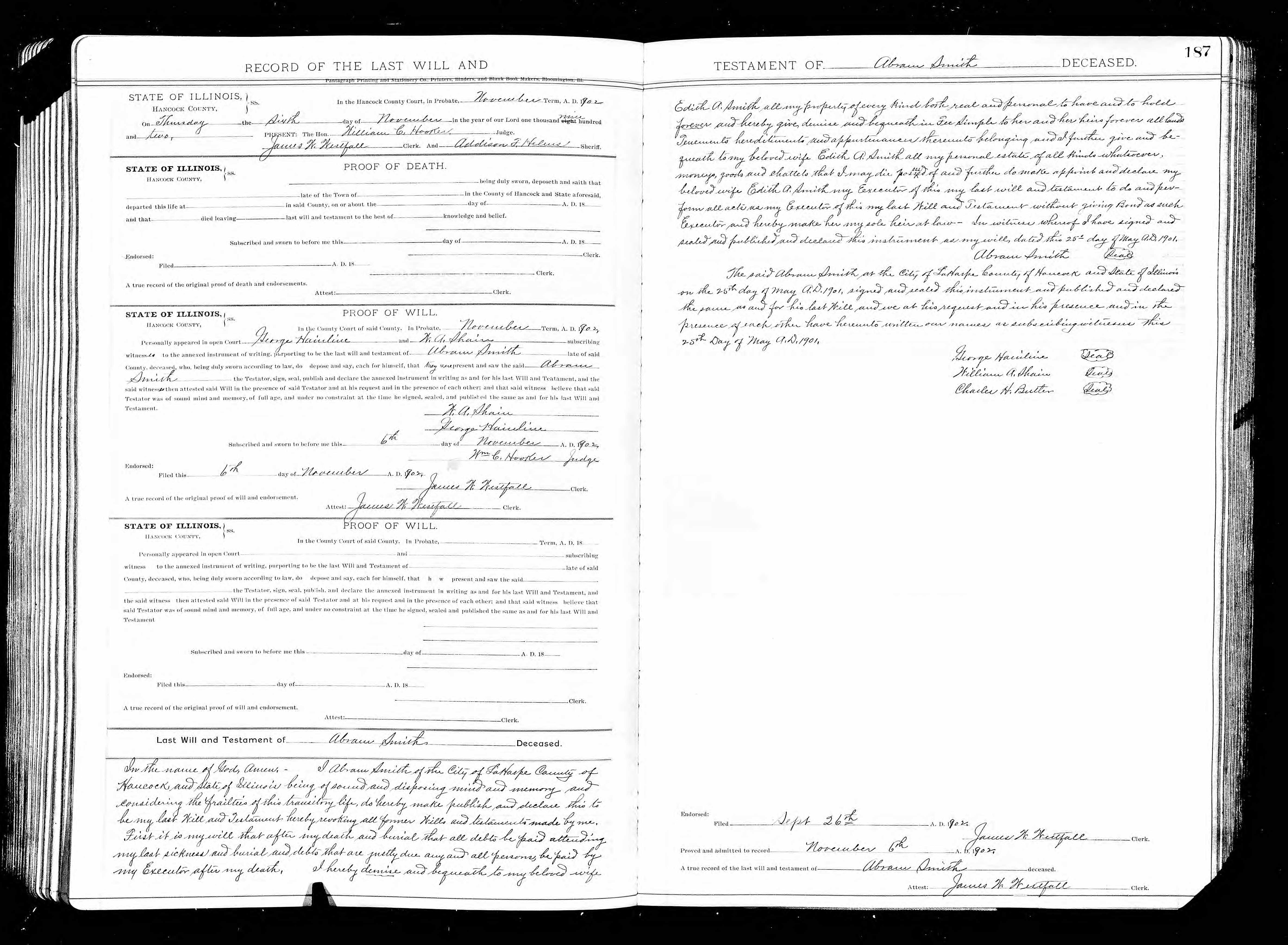 Will and Probate Record: Abram Smith 1902